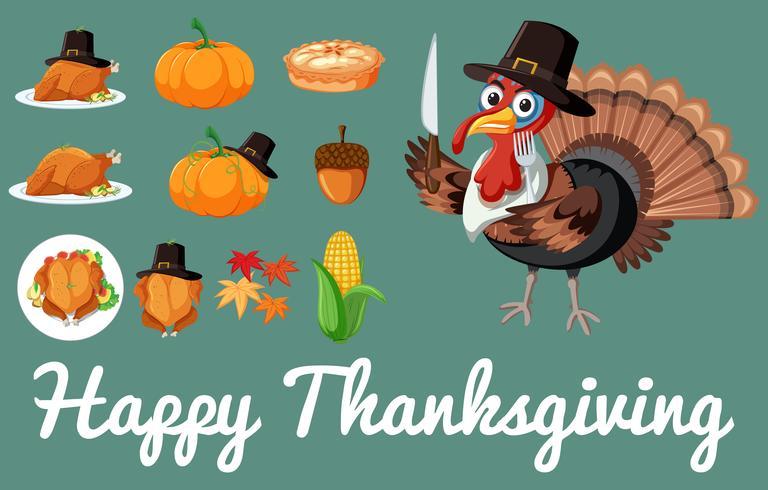 Set van thanksgiving voedsel vector