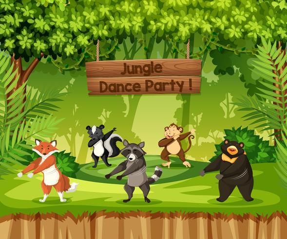 Dieren voeren jungle-dansfeest vector