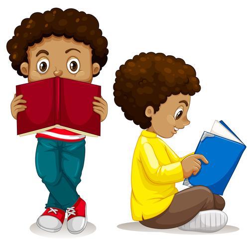 Afrikaanse jongen leesboek vector