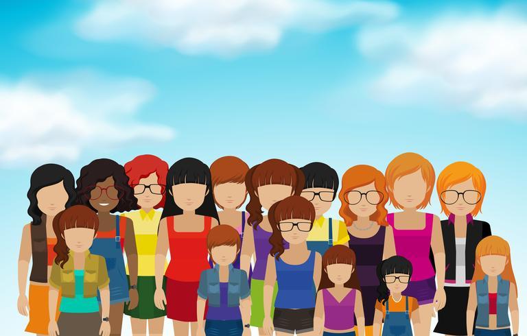 Set van vrouwelijke iconen in vlakke stijl vector