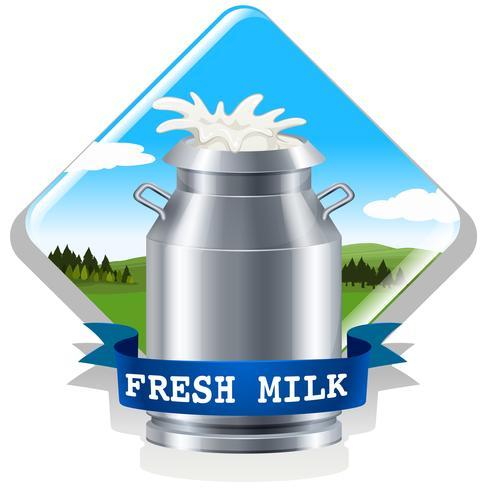 Verse melk met tekst vector