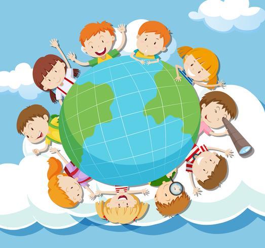 globale kinderen in de lucht vector