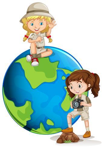 Jonge avontuur meisje zand aarde vector