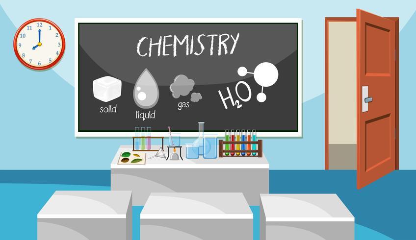 Binnenland van chemieklaslokaal vector