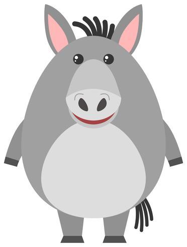 Grijze ezel op witte achtergrond vector