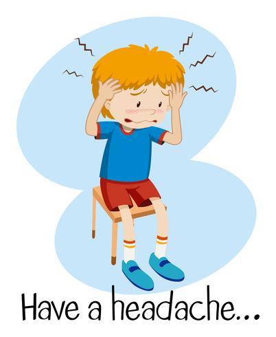 Een jongen met hoofdpijn vector