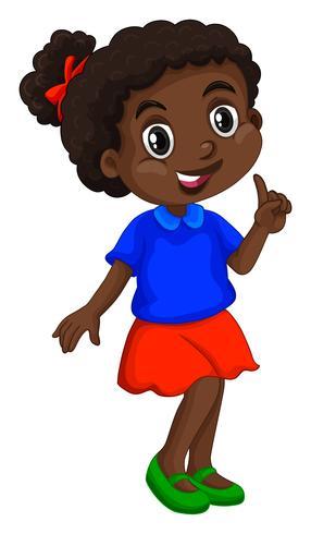 Afrikaans Amerikaans meisje in blauw shirt vector