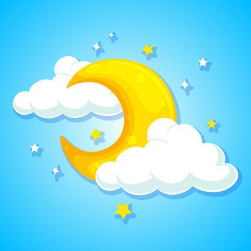 Een maan op blauwe hemel vector