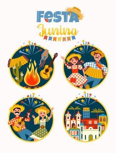 Latijns-Amerikaanse vakantie, het junifeest van Brazilië. vector