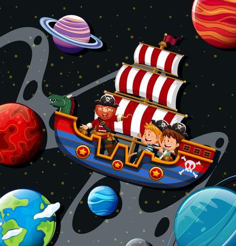 Kinderen rijden op viking met piraat vector
