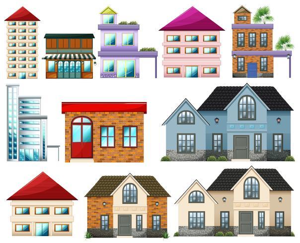 Verschillende gebouwen vector