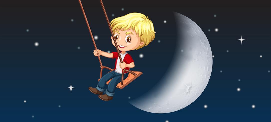 Een jongen spelen swing hemelachtergrond vector
