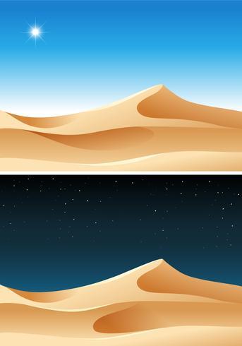 Woestijnscène van dag en nacht vector