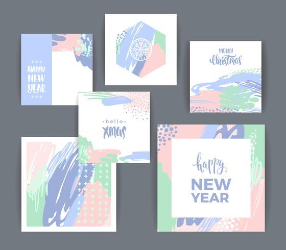 Set van artistieke creatieve vrolijk kerstfeest en Nieuwjaar vector