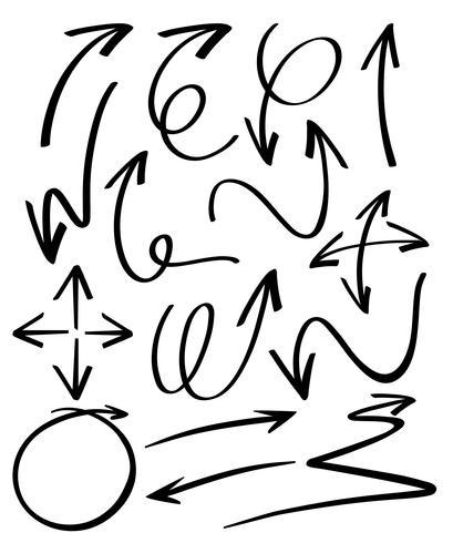 Doodles van verschillende pijlenontwerp vector