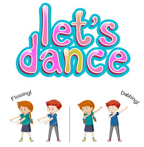 Jongen en meisje laten we dansen vector