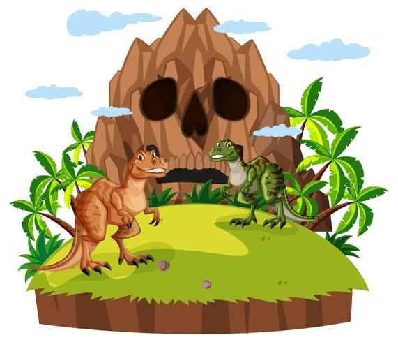 Scène met twee dinosaurussen vector