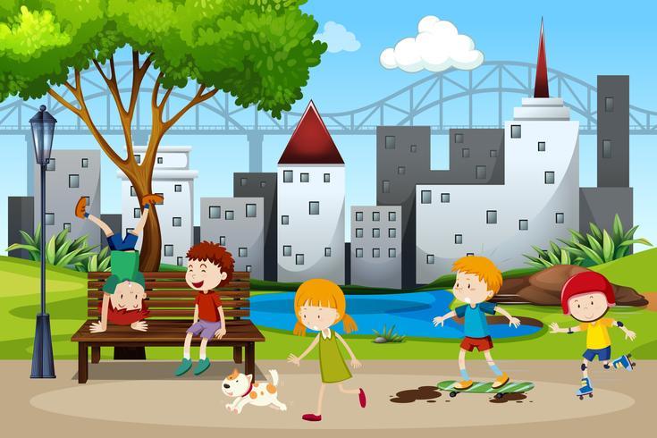 Kinderen spelen in het park vector