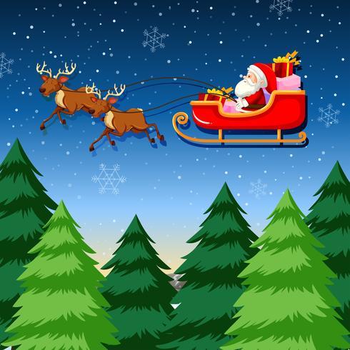 Een santa slee rijden vector