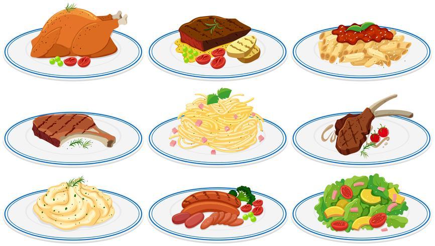 Verschillende soorten voedsel op de platen vector