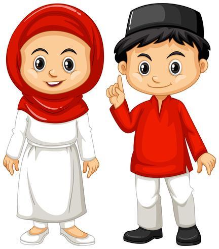 Indonesische jongen en meisje in traditionele outfit vector