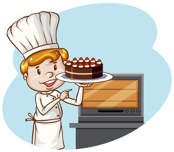 Een chef-kok die cakebakkerij bakt vector