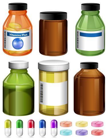 Een set van medicijnen en een container vector