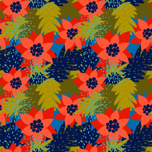 Kerst naadloze patroon met Poinsettia.Trendy vintage stijl. vector