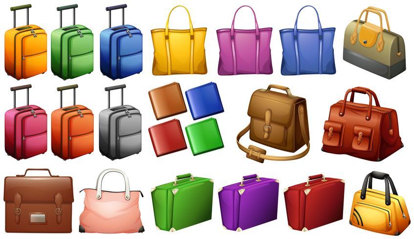 Verschillende soorten koffers vector
