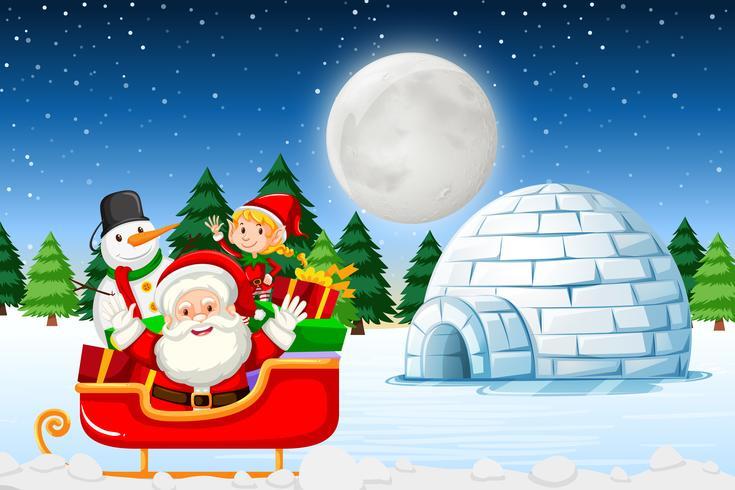 Kerstman bij het de winterlandschap vector