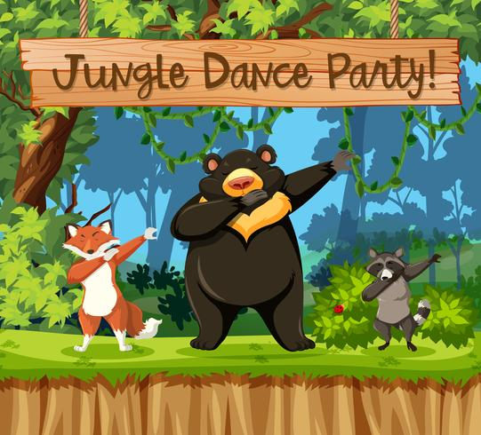 jungle dance party dierlijke scène vector