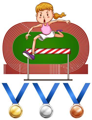 Meisje die hindernissenpas en medailles doen vector