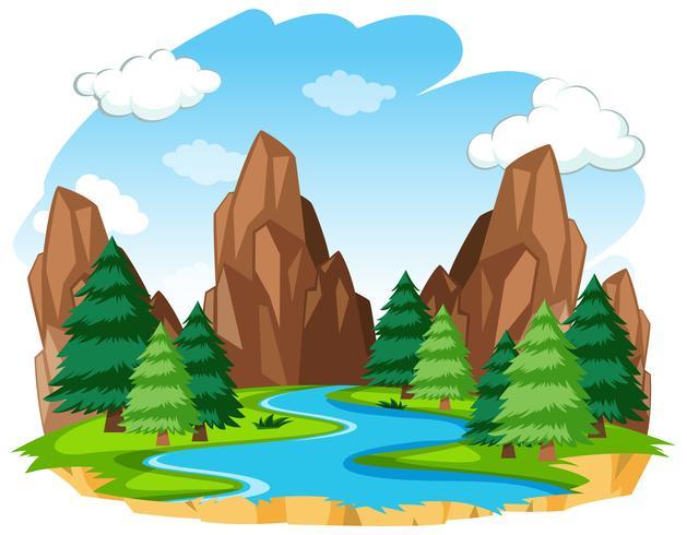 Een rivier natuurlijk landschap vector