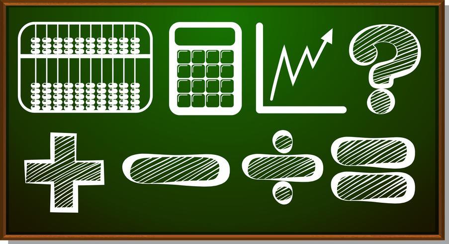 Wiskundige symbolen op blackboard vector