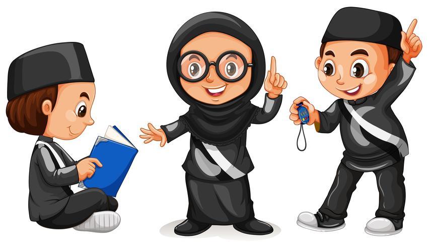 Drie moslimkinderen in zwart kostuum vector