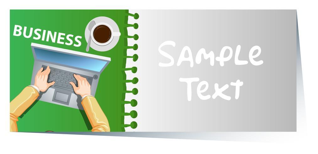 Visitekaartjemalplaatje met laptop op achtergrond vector
