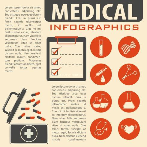 Medische infographic met tekst en symbolen vector
