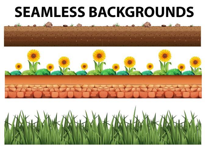 Naadloze achtergrond met zonnebloemen en gras vector