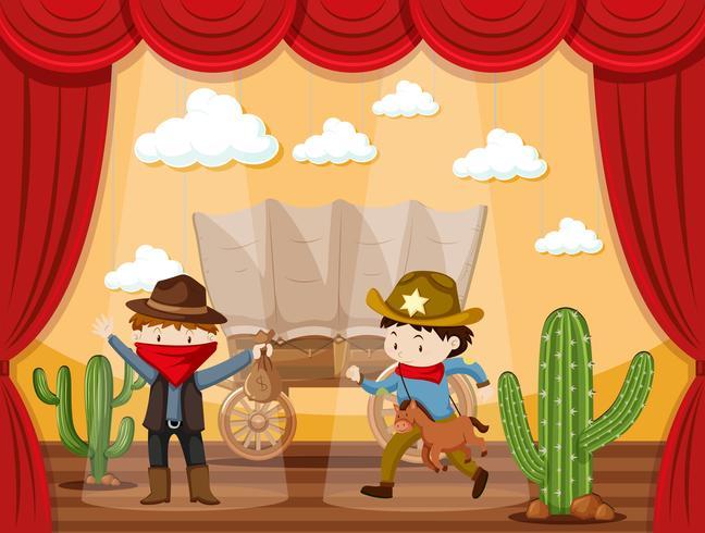 Stage spelen met twee cowboys vector