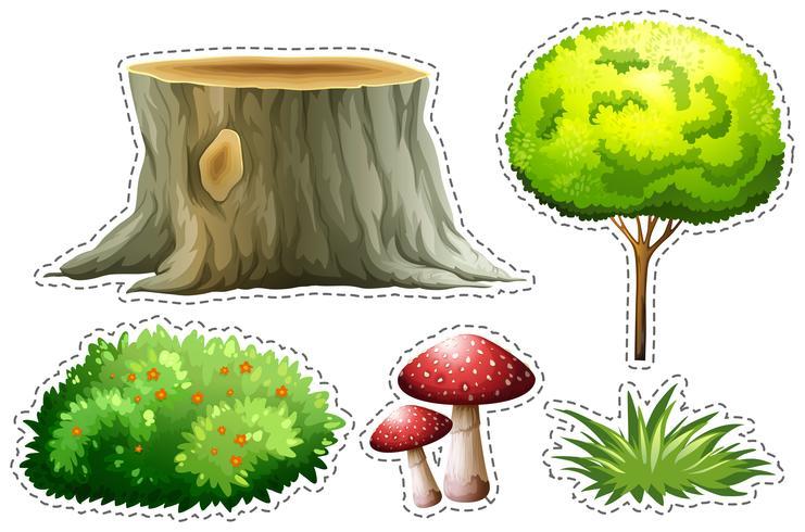 Stickerreeks van aard met boom en struik vector