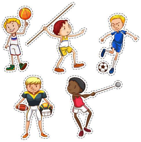 Stickerset van mensen die sporten doen vector