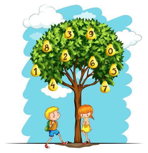 Kinderen en perenboom met cijfers vector
