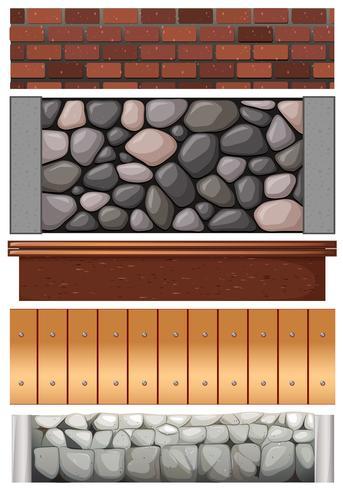 Naadloos omheiningsontwerp met stenen en hout vector