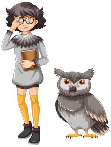 Meisje in grijze outfit en schattige uil vector