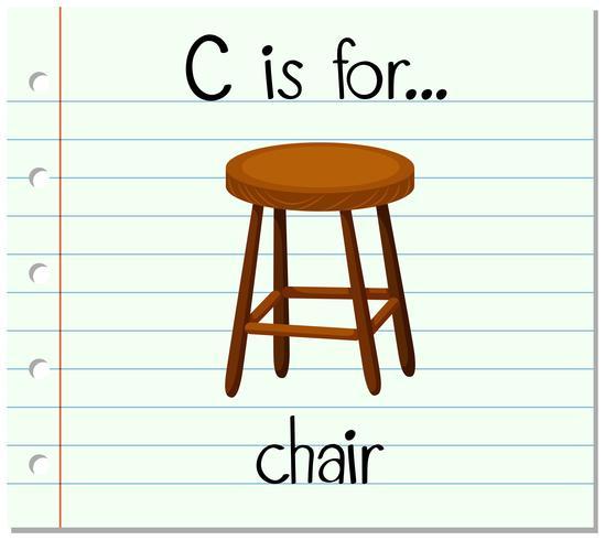 Flashcard letter C is voor stoel vector