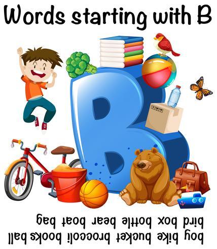 Werkbladontwerp voor woorden die beginnen met B vector