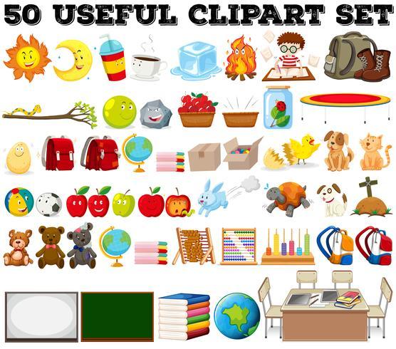 Vijftig soorten verschillende objecten vector