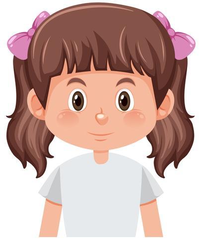 Een karakter van het bosjes donkerbruine meisje vector