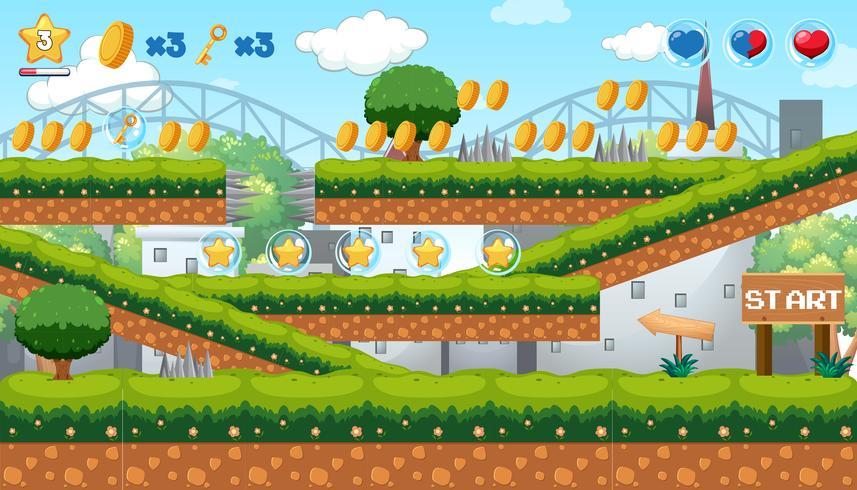 Munt verzamelen spel in Park-thema vector