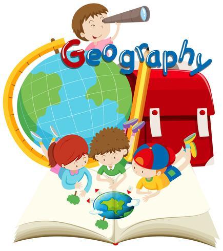 Studenten en geografie onderwerp vector
